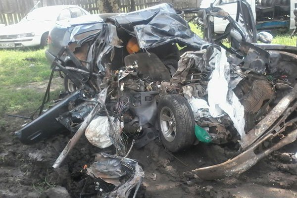 The wreckage of the car that was involved in the Salgaa accident. Photo / Nation
