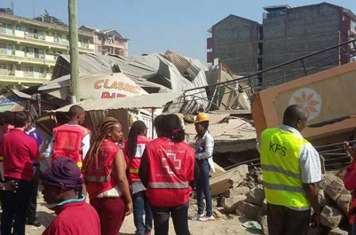 Red Cross staff lead rescue efforts at the scene.